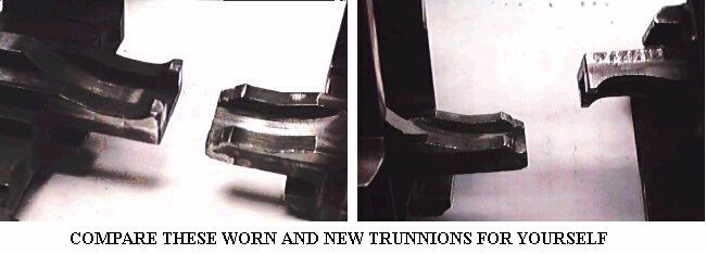 GOOD AND WORN TRUNNIONS