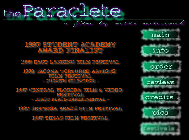 the Paraclete by Velko Miliosevich - Festival information
